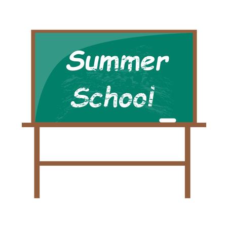 Summer school blackboard with piece of chalk Ilustração