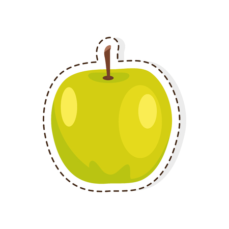 Green Apple flat vector isolated sticker or icon