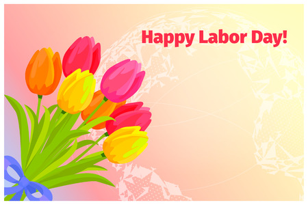 Poster of Happy Labor Day with Bouquet of Tulips