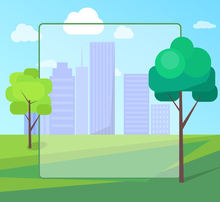 Landscape Scenery of City Park with Green Trees Illustration