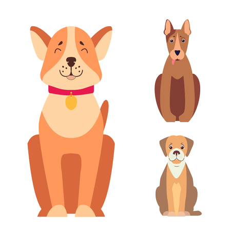 Cute purebred dogs in cartoon style flat vector illustration