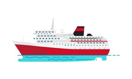 Przestronny luksusowy statek wycieczkowy i duży czerwony parowiec