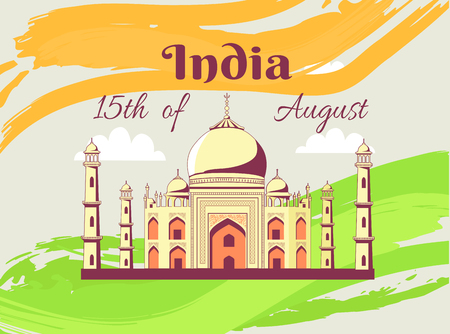 Independence Day of India Poster with Taj Mahal
