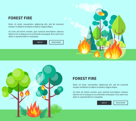 Forest fire set of cartoon posters editable