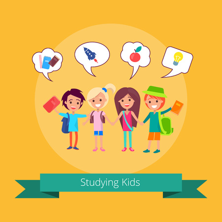 Studying kids with small bubble speech icons illustration Illustration