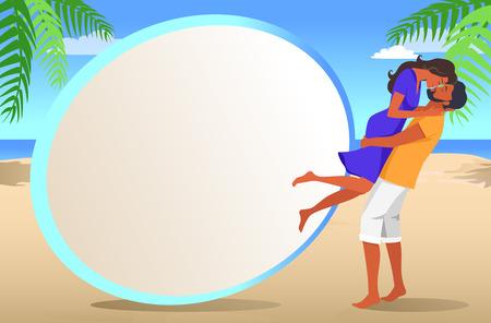 Cadre pour photo avec plage et Couple amoureux Banque d'images - 89909256