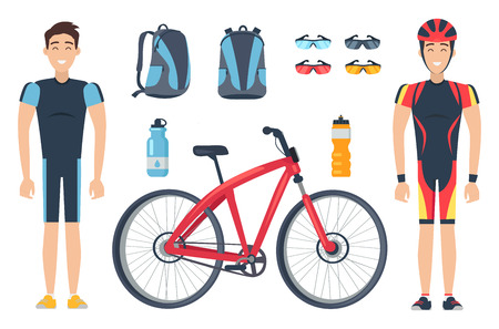 Male sportsmen with bicycle accessories solated on white background