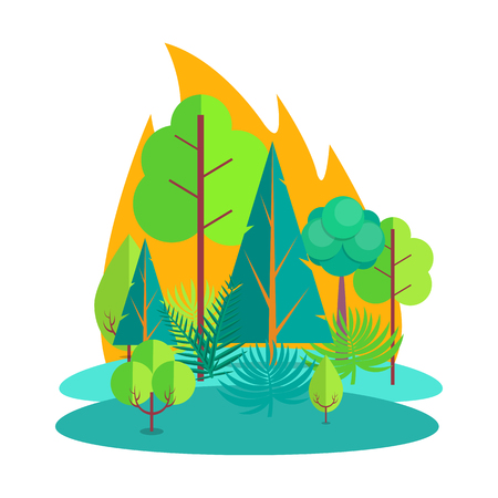 Forest Engulfed in Fire Isolated Illustration Çizim