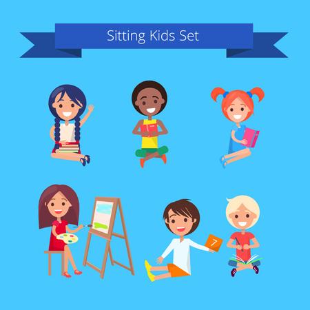 Sitting Kids Set Illustration on Light Blue Banco de Imagens