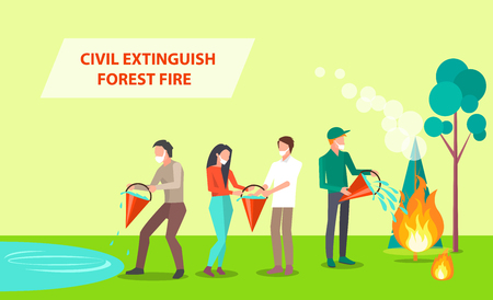 Civil Extinguish Forest Fire Illustration Stock Photo