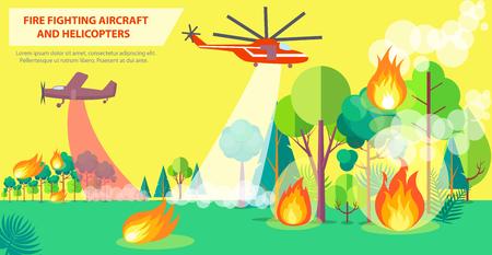 航空機とヘリコプターによる消防ポスター
