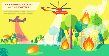 Fire Fighting Poster with Aircraft and Helicopter Illustration