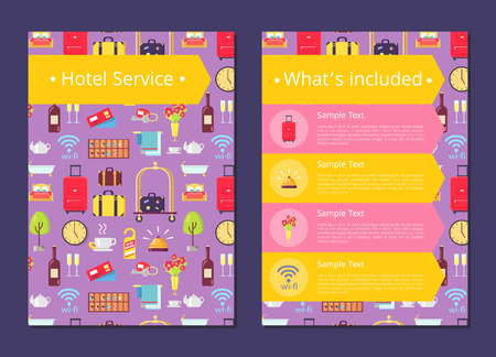 Hotel Services Information List on Internet Page Illustration