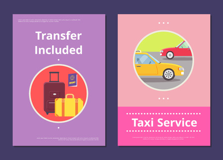 Taxi Service in Hotel with Included Transfer Posters Ilustracja