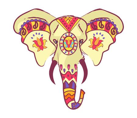 Indischer Elefant Kopf mit hellen ethnischen Ornamente