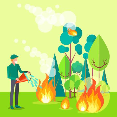 Tekening van een burger die brand probeert te blussen