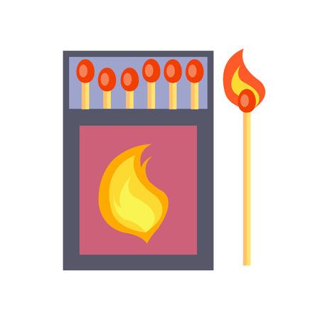 Box of Matches, Isolated Illustration on White Illustration