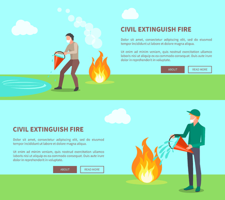 Civil Extinguish Fire, Set of Posters with Text