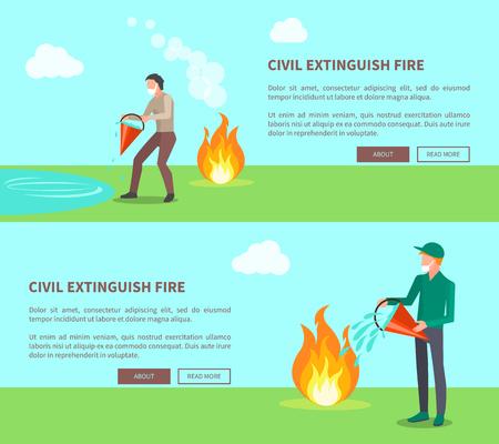 Civiel blussen van vuur, Set van posters met tekst Stock Illustratie