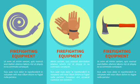Equipment for Firefighting Set with Icons and Text Illustration