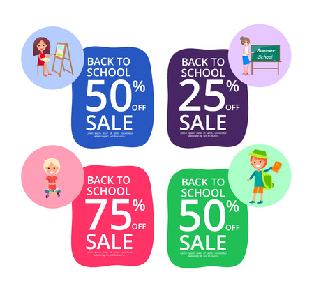 Back to School Set of Colorful Sale Posters Ilustração