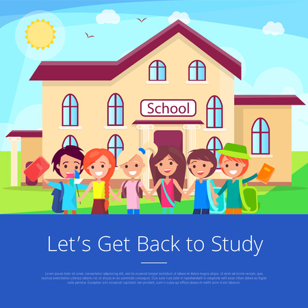 Let's Get Back to Study Cartoon Poster Banco de Imagens - 90572030