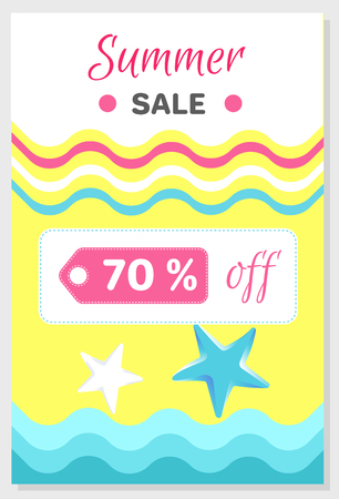 Summer Sale Poster with 70% Discount off, Vector Illustration