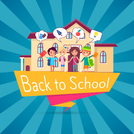 Back to School Template Poster with Small Students Stok Fotoğraf - 90572367