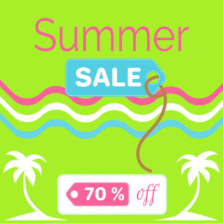 Summer Sale Poster with 70% Discount off Vector