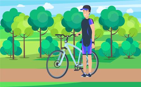 Joyful Athlete on Track with Bicycle Illustration