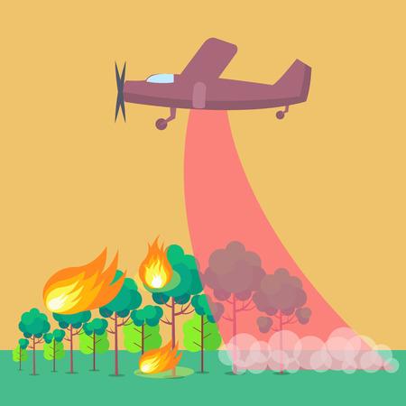 Poster met vliegtuig dat bosbrand uitdoet Stock Illustratie