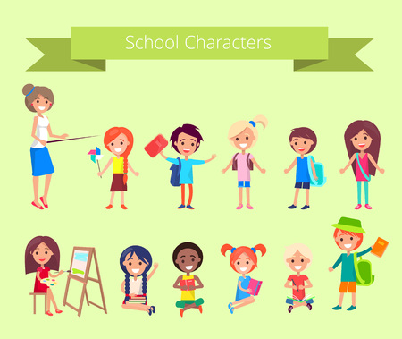 School Characters, Vector Collection of Pupils