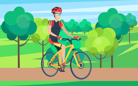 Man in Cycling Clothing on Bicycle Illustration Illustration