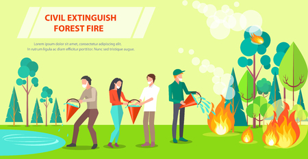 Poster of Civil Extinguishing Forest Fire Illustration