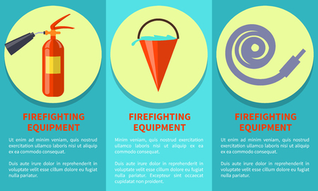 Emergency Equipment Set for Fire Protection Poster Illustration