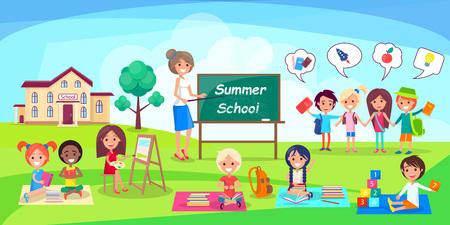 Summer School Poster Depicting Kids and Teacher Illustration