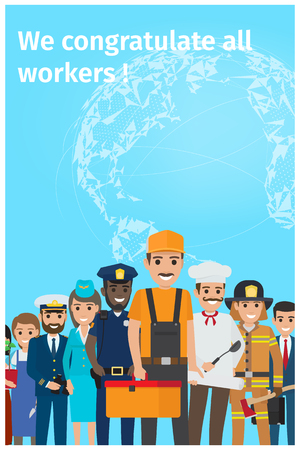 We Congratulate All Workers Greeting Postcard Illustration