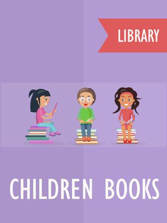 Kinderboek bij bibliotheek, poster met kinderen Stock Illustratie