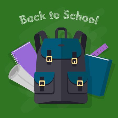 Retour à l'école. Sac à dos noir moderne avec des objets Banque d'images - 90604989