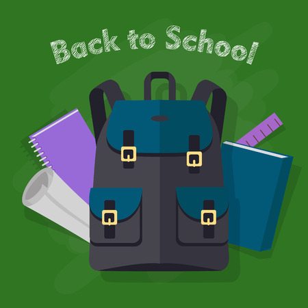 Back to School. Modern Black Backpack with Objects Illustration