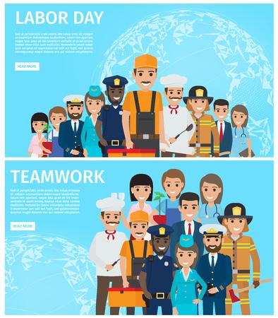 Dag van de arbeid en teamwerk promotie illustratie Stock Illustratie