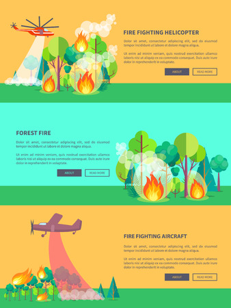 Transport Solving Problem of Fire in Forest. Illustration