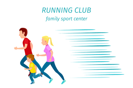 Family Sport Center Running Club Health Program Illustration