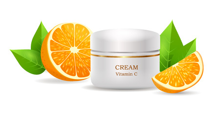 Cream with Vitamin C in Glossy container, Vector
