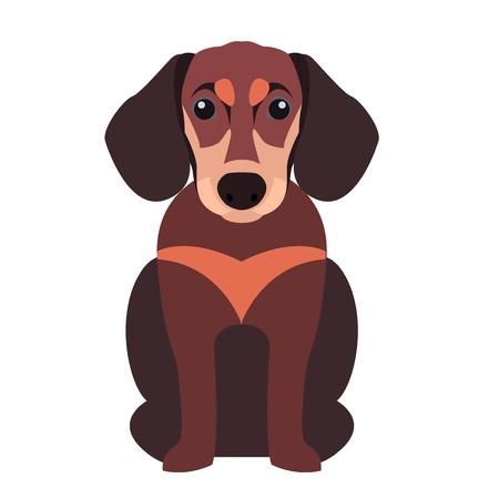 かわいいダックスフント犬、漫画フラット ベクトル アイコン
