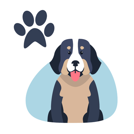 Heavy Bernese Mountain Dog Paw Print Flat Design