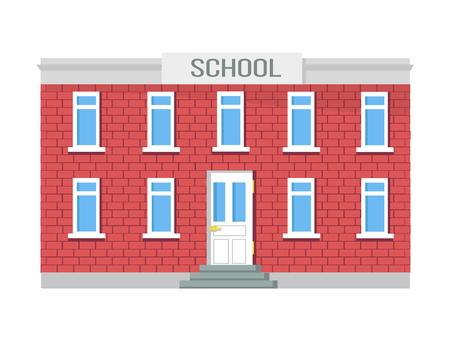 Twee verdiepingen tellend schoolgebouw, ramen en entree