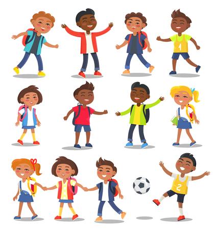 Cheerful SchoolChildren, Isolated Illustrations