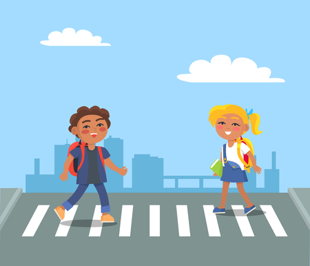 Kids Crossing Street on Pedestrian in Urban City