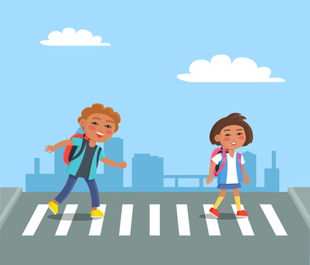 Cheerful Kids with Red Rucksacks Crossing Road Illustration